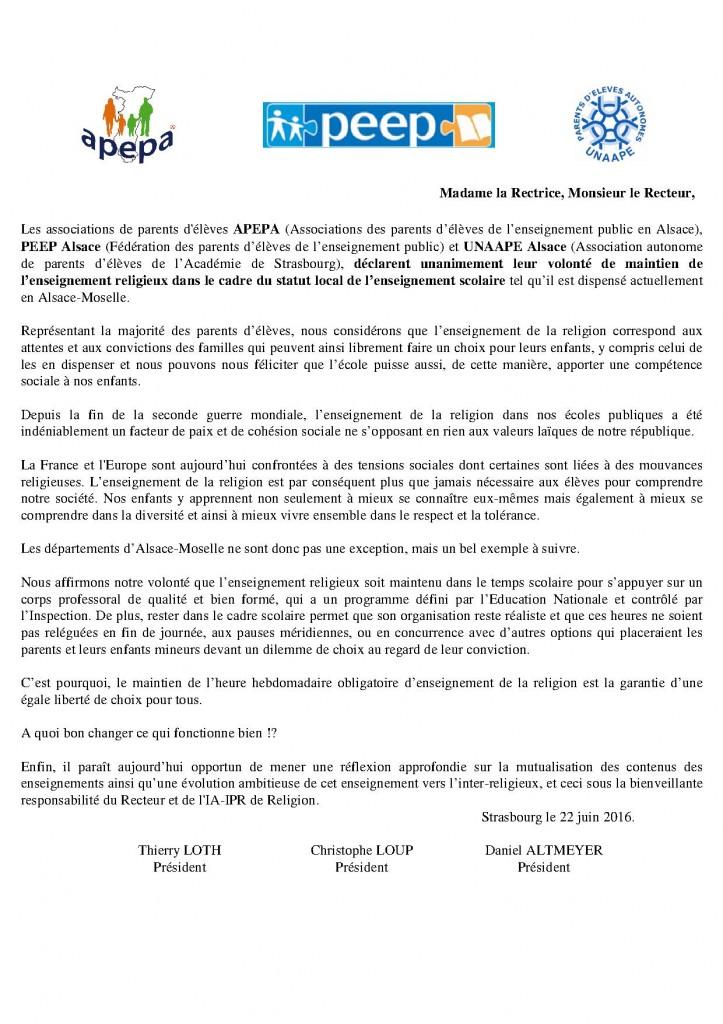 APEPA-PEEP-UNAAPE-Enseignement religieux-160622